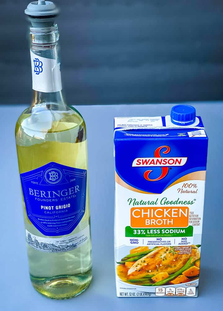 white wine and chicken broth for cauliflower risotto