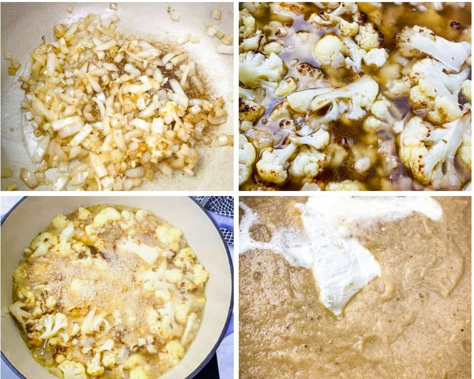 collage photo of keto low carb cauliflower soup in process in a Dutch oven
