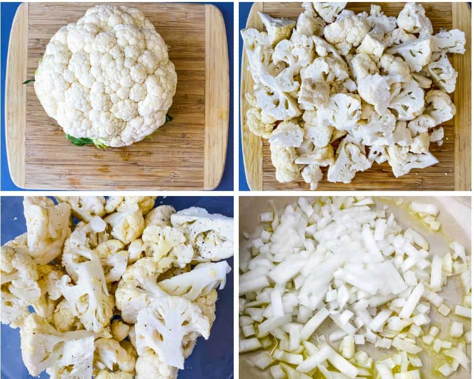collage photo of 4 photos of chopped cauliflower for keto low carb cauliflower soup