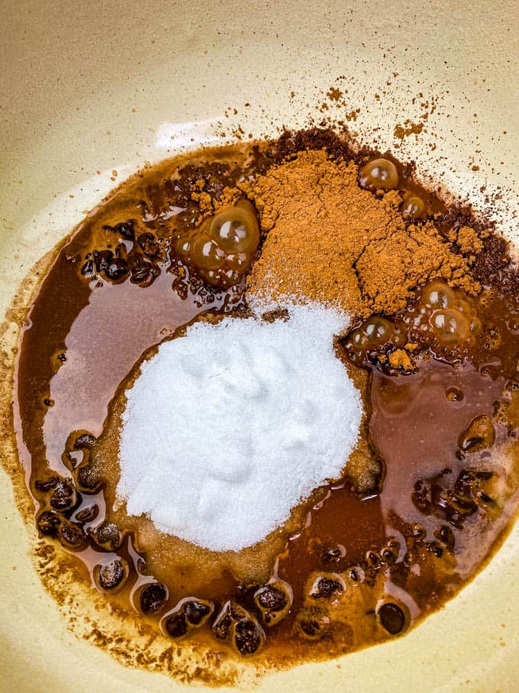 melted chocolate for keto low carb hot chocolate in a Dutch oven