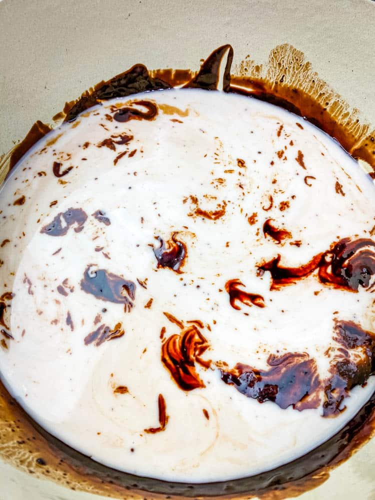 keto low carb hot chocolate in a Dutch oven