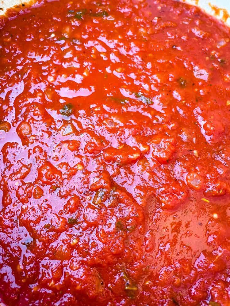 keto low carb marinara sauce in a Dutch Oven