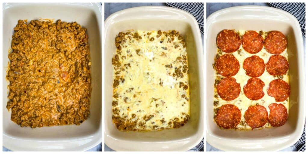 process photos showing how to layer keto low carb pizza casserole in a red dish