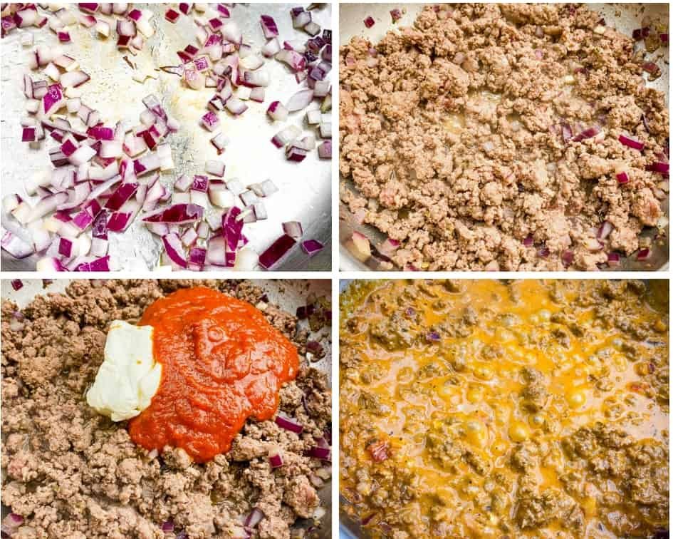chopped onions, ground beef, cream cheese, and marinara cooked in a skillet for process photos showing how to layer keto low carb pizza casserole