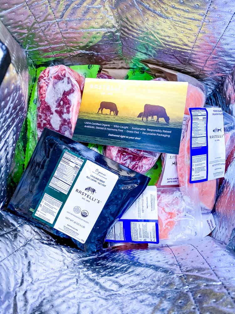 organic meat delivery from Rastelli in a bag