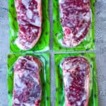 New York Strip steaks in packages from Rastelli meat delivery