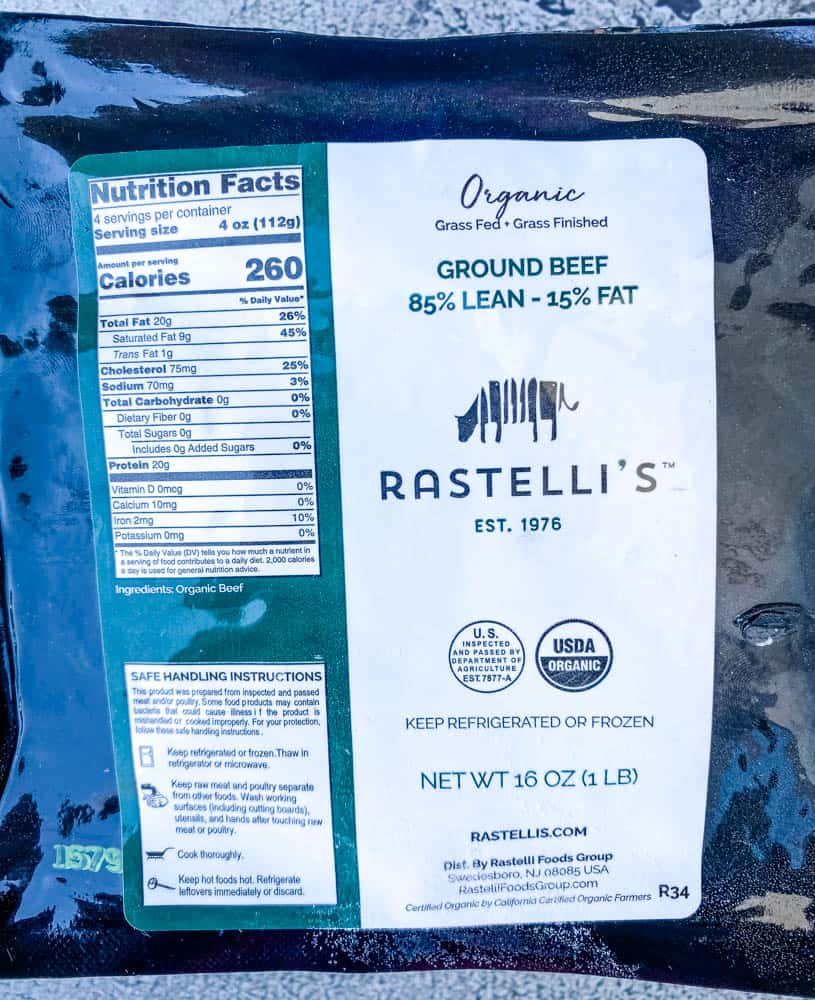 ground beef in packaging for Rastelli meat delivery