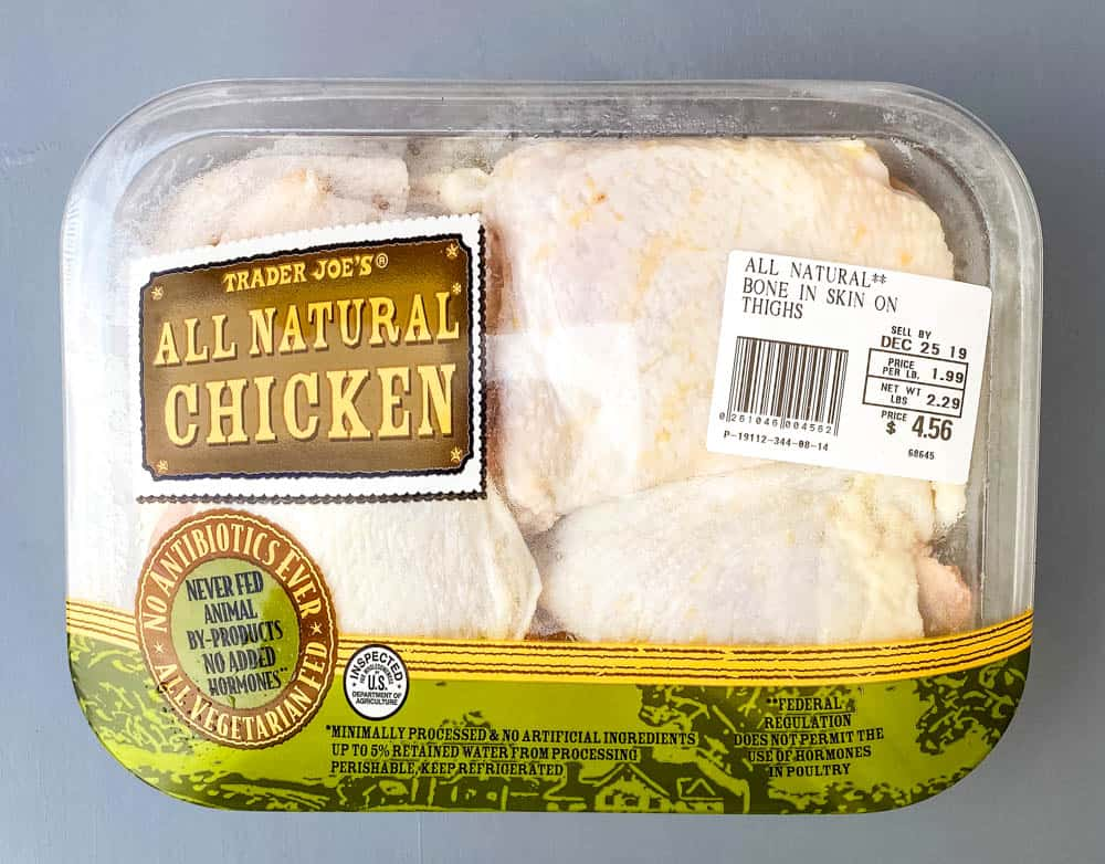 raw bone in chicken thighs in packaging