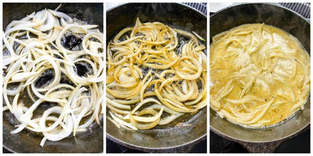 collage photo showing the process of sauteeing onions in a cast iron skillet