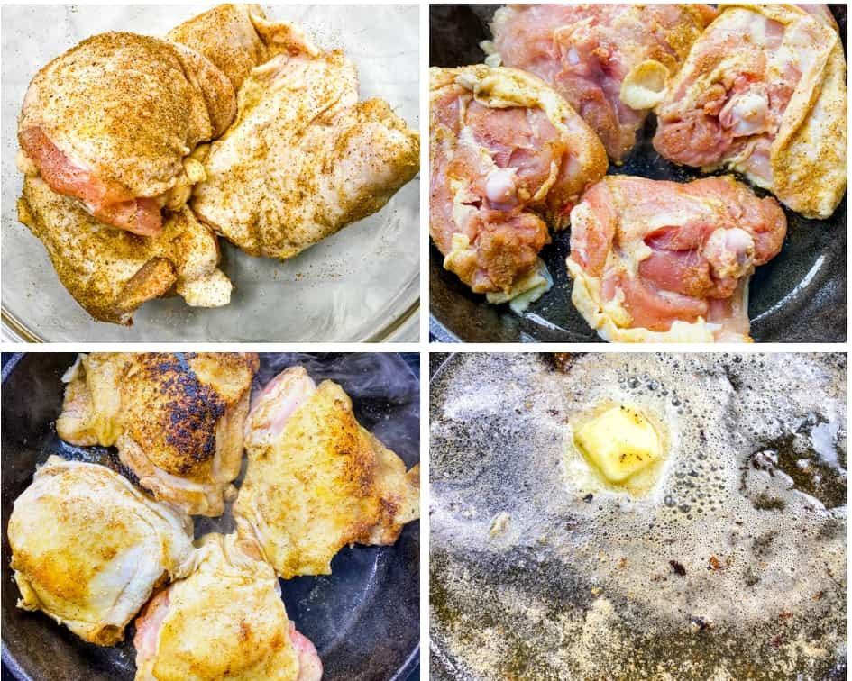 collage photo of 4 photos of raw seasoned chicken thighs, chicken thighs seared in a cast iron skillet, and butter melted in a cast iron skillet