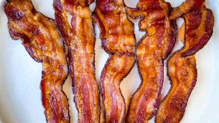air fryer bacon on a white plate