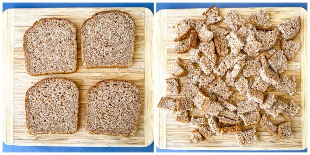 a collage photo of 2 photos of slices of Ezekiel bread on a cutting board and bread sliced into cubes for air fryer croutons