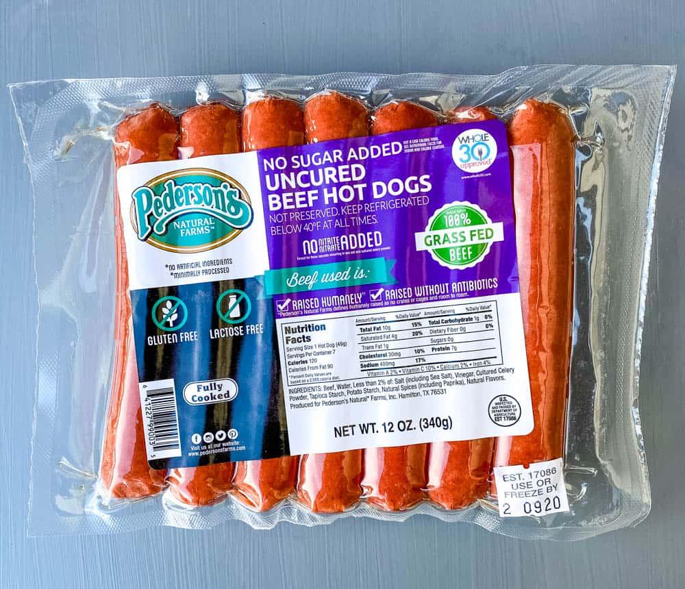 uncured beef franks in packaging