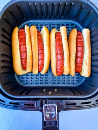 hot dogs in buns in an air fryer