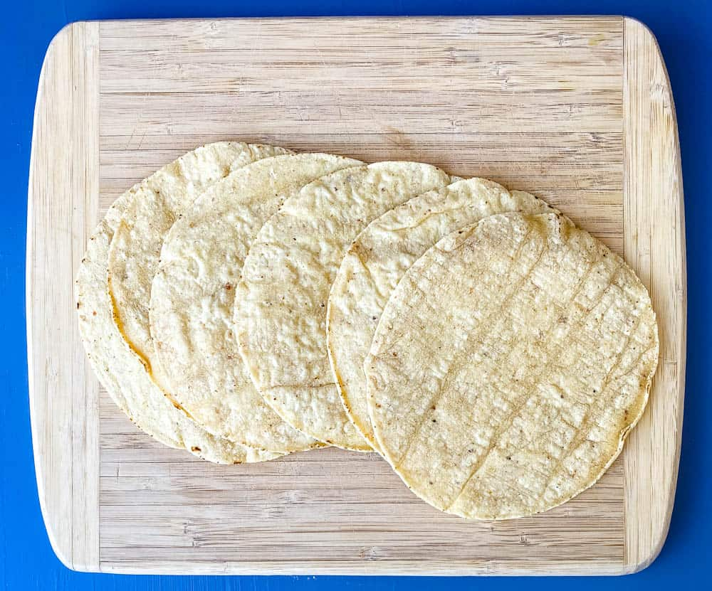 corn tortillas for air fryer tortilla chips on a cutting board