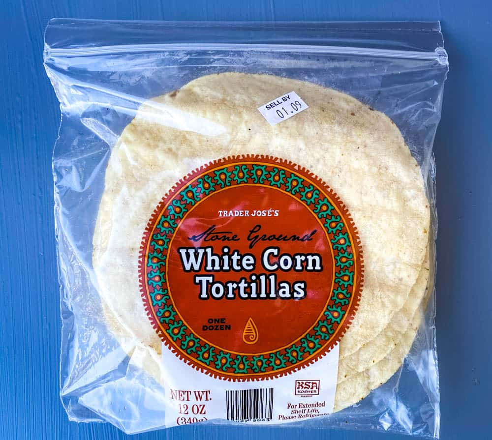 white corn tortilla chips in the packaging