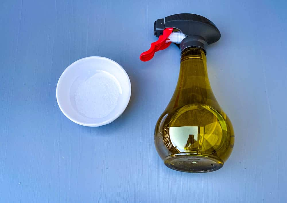 olive oil in a bottle and salt for air fryer tortilla chips