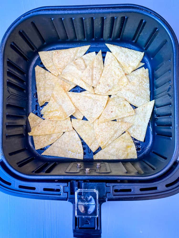 uncooked tortilla chips in air fryer