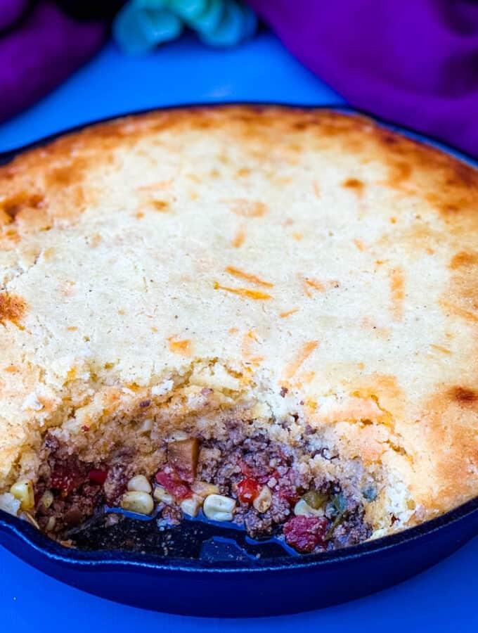 tamale pie recipe in a cast iron skillet