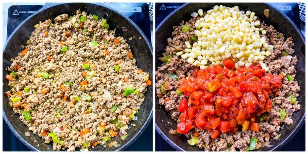 ground beef, corn, and diced tomatoes in a cast iron skillet