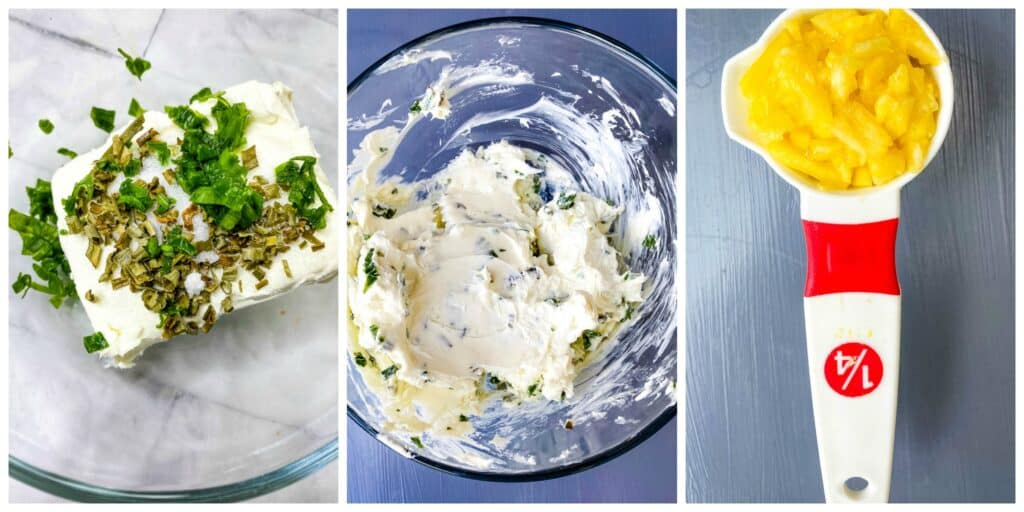 collage photo of cream cheese, chives, and pineapple for wonton filling