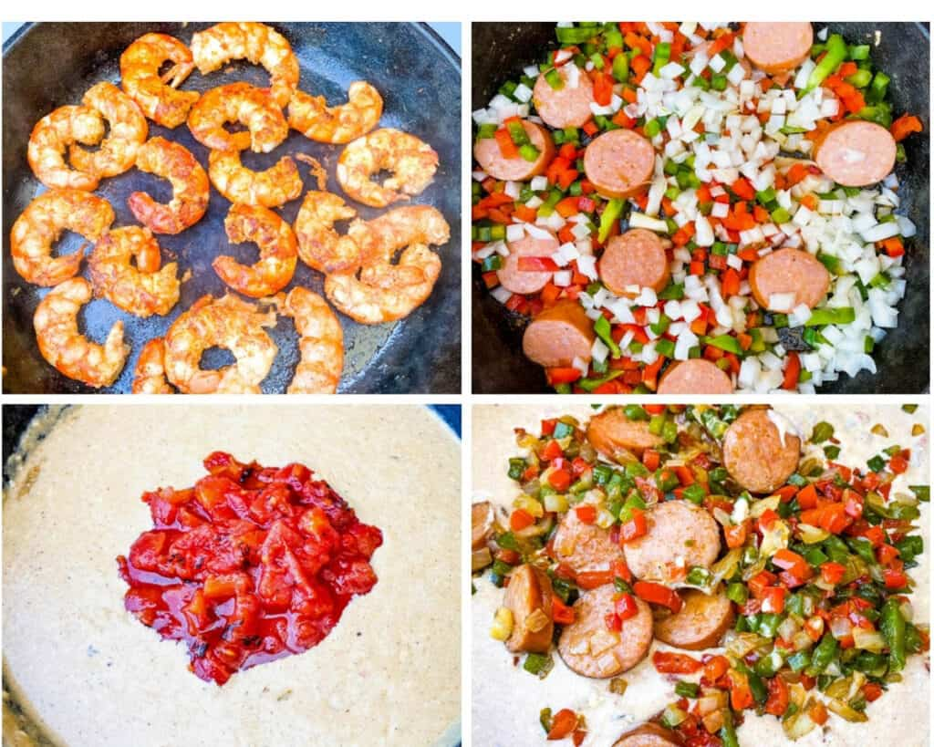 collage photo of 4 photos with cooked shrimp in a skillet, sausage, peppers, and onions in a skillet, and cream sauce and tomatoes in a skillet