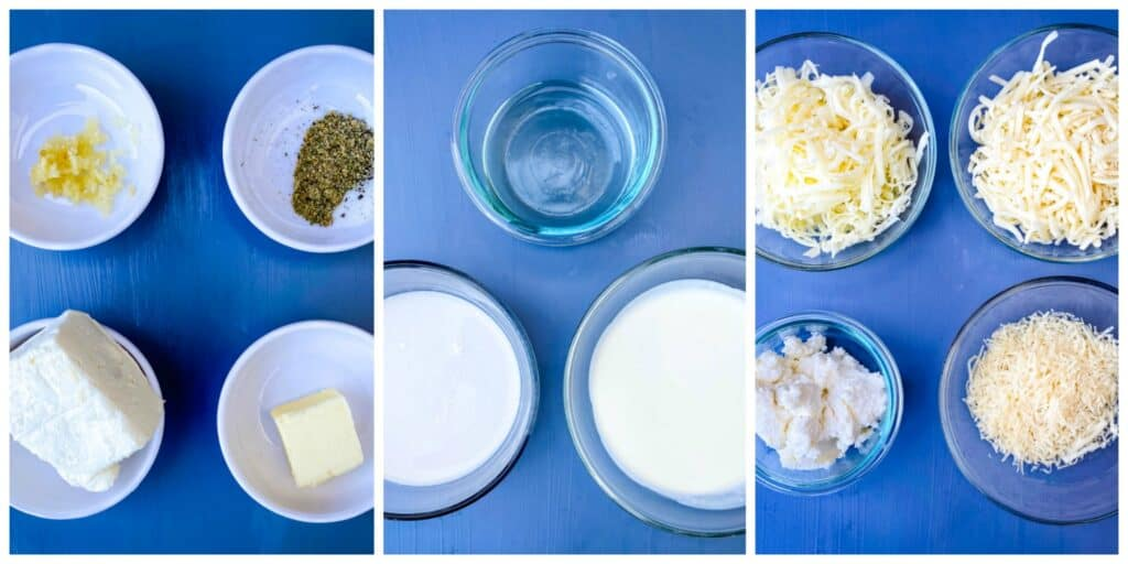 collage photos of butter, seasoning, white wine, heavy cream, cream cheese, almond milk, and shredded cheese in different bowls