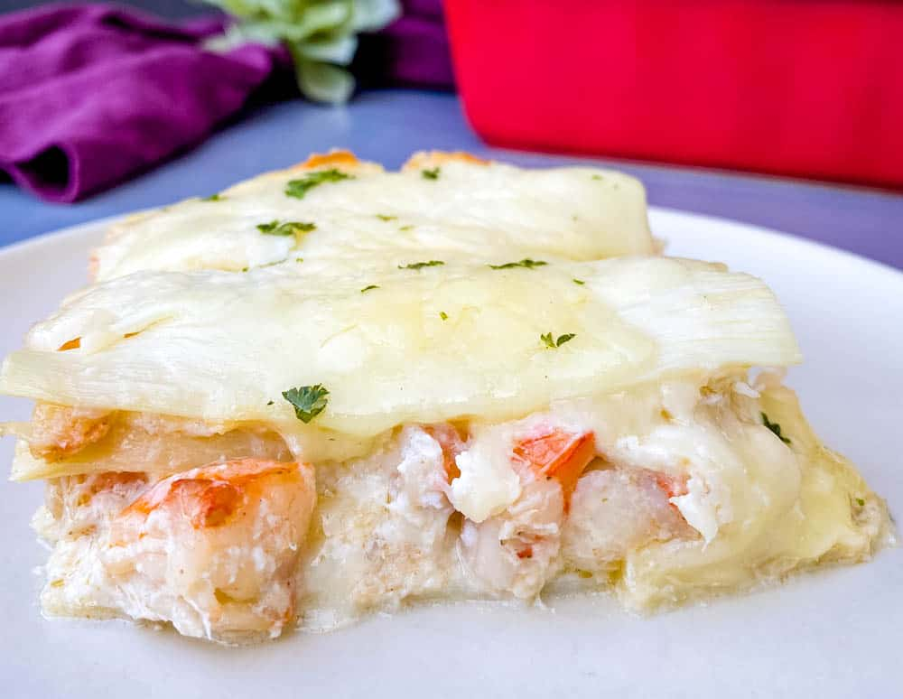 seafood lasagna on a white plate