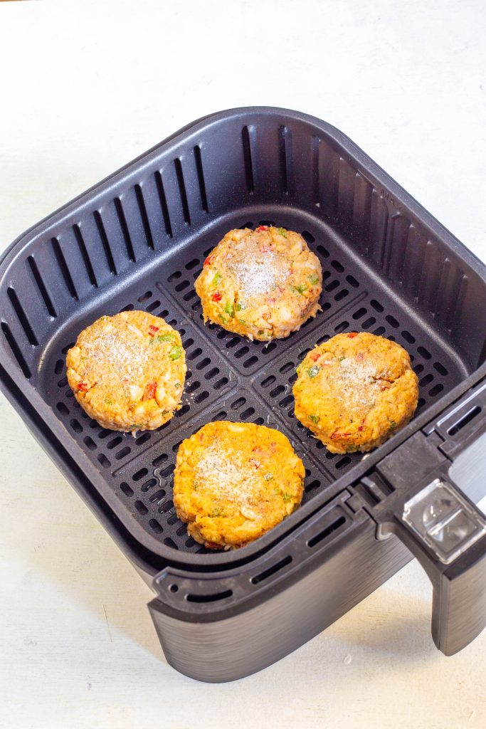 uncooked crab cakes in air fryer