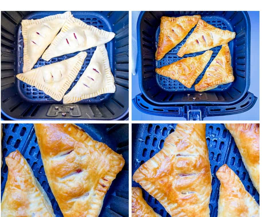a collage photo of 4 phots of turnovers in the air fryer