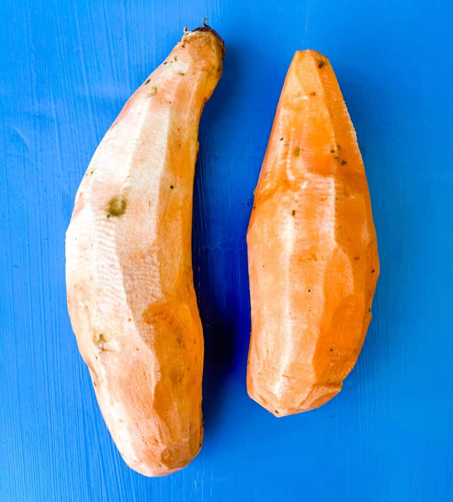raw peeled sweet potatoes