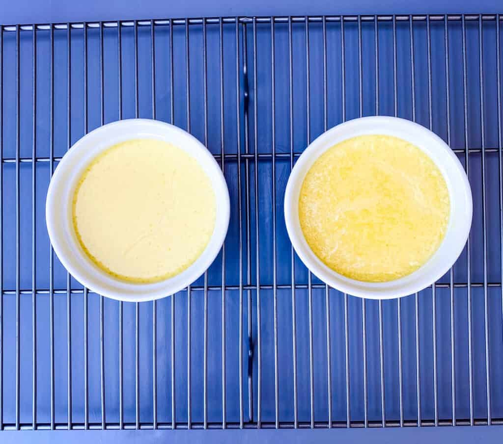 keto low carb Crème brûlée custard mixture on a cooling rack