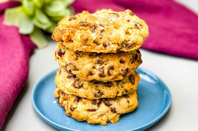 air fryer chocolate chip cookies on a blue plate