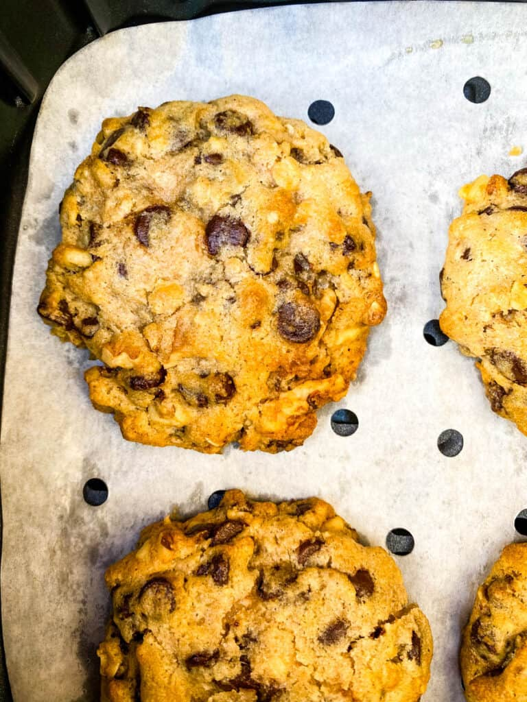 chocolate chip cookies in an air fryer