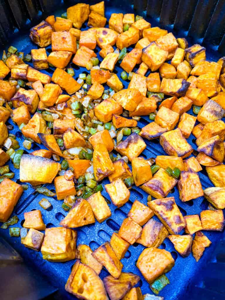 sweet potato hash in an air fryer