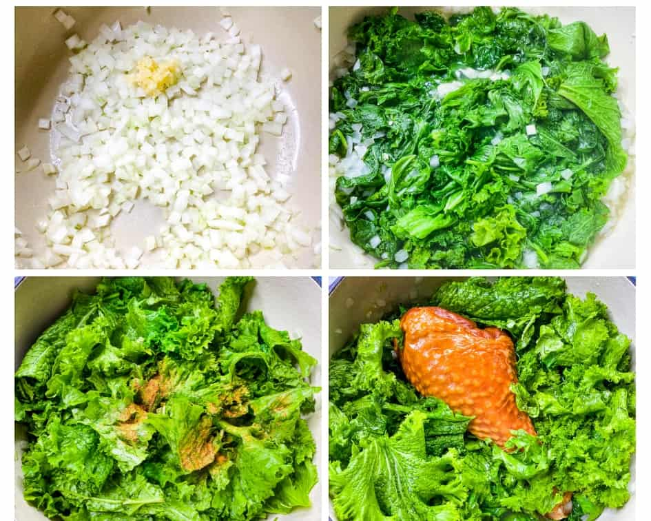 a collage photo showing how to cook mustard greens in a Dutch oven, onions and garlic sauteed with mustard greens