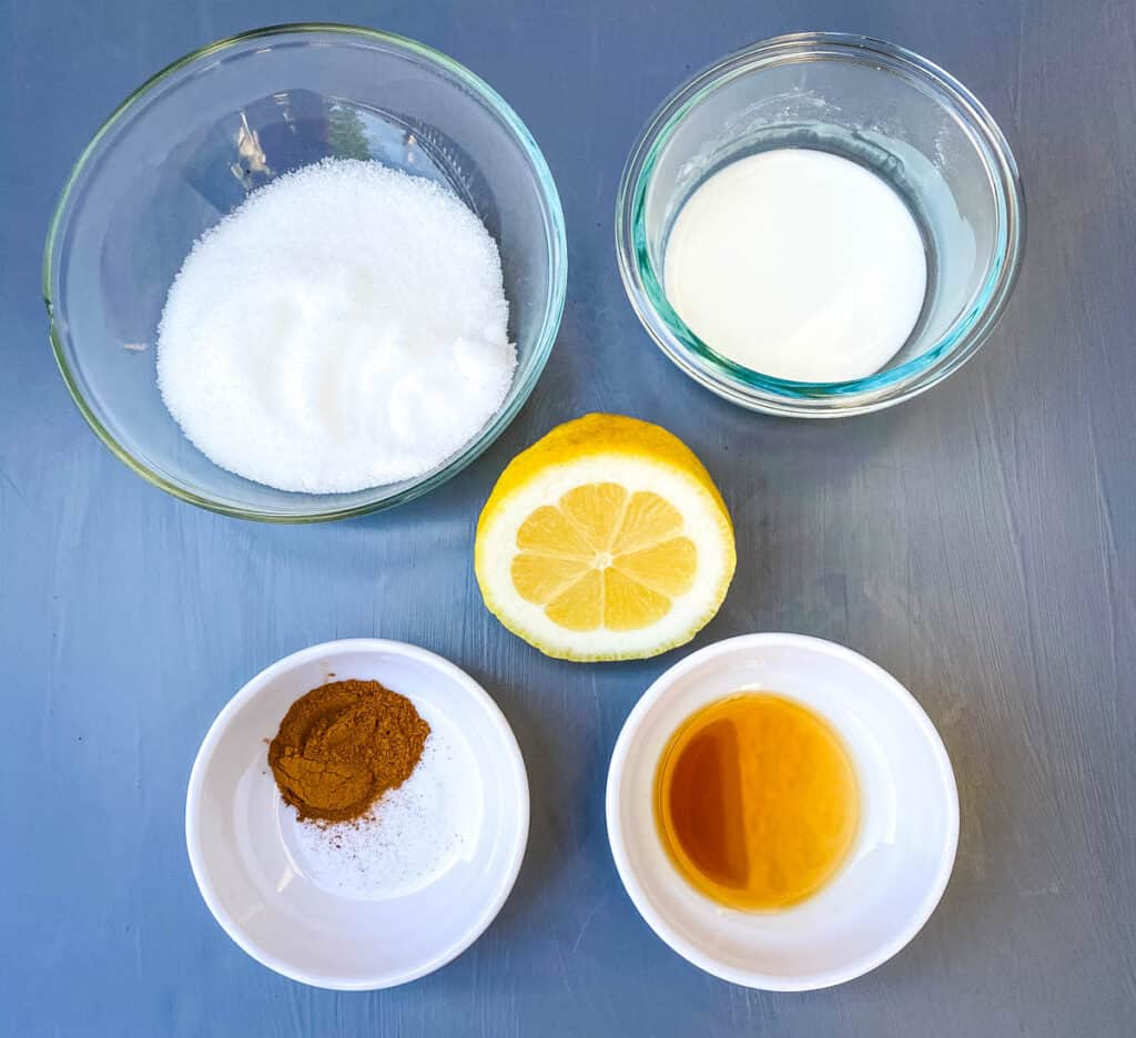 sweetener, cornstarch, fresh lemon, vanilla, and cinnamon in separate bowls