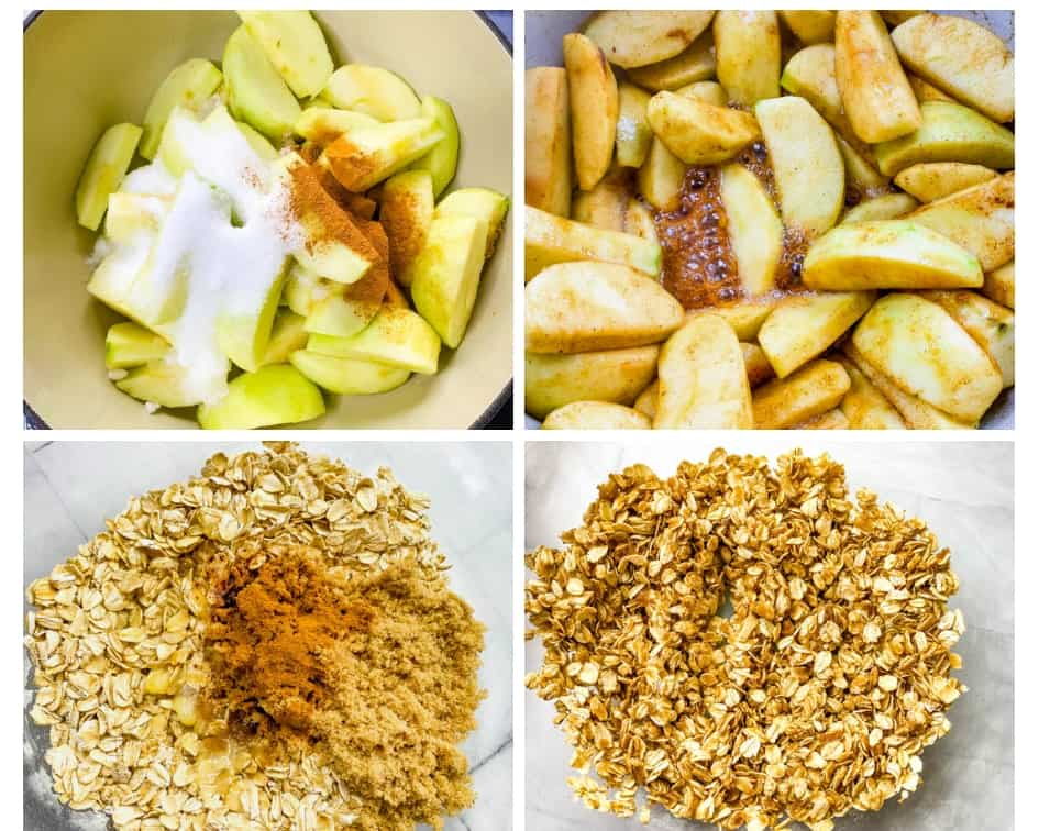 a collage photo showing how to make apple crisp by combining ingredients in a saucepan