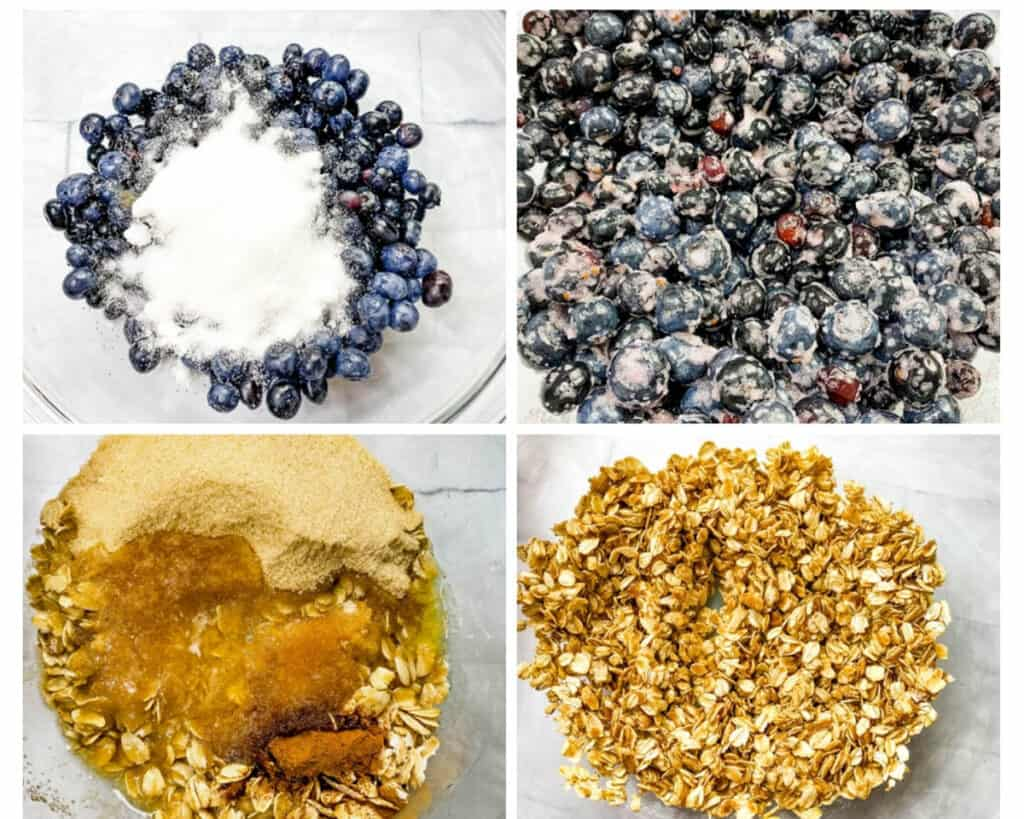 a collage photo of 4 photos with fresh blueberries with sweetener and blueberry crisp topping