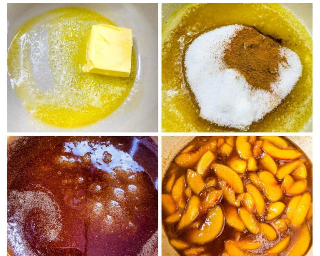 a collage photo with 4 photos showing how to make peach cobbler filling using butter, sweetener, and peaches