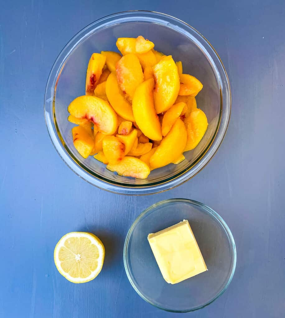 frozen peaches, butter, and fresh lemon in separate bowls