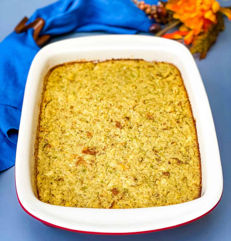 cornbread dressing in a baking dish