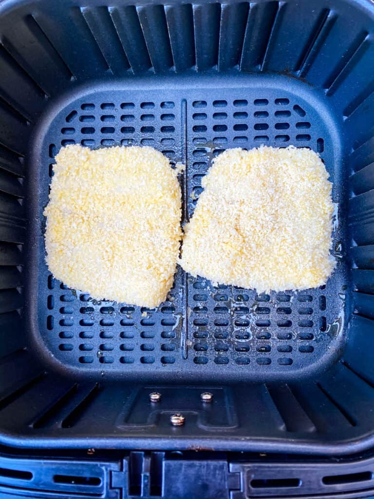 uncooked fish fillets in the air fryer