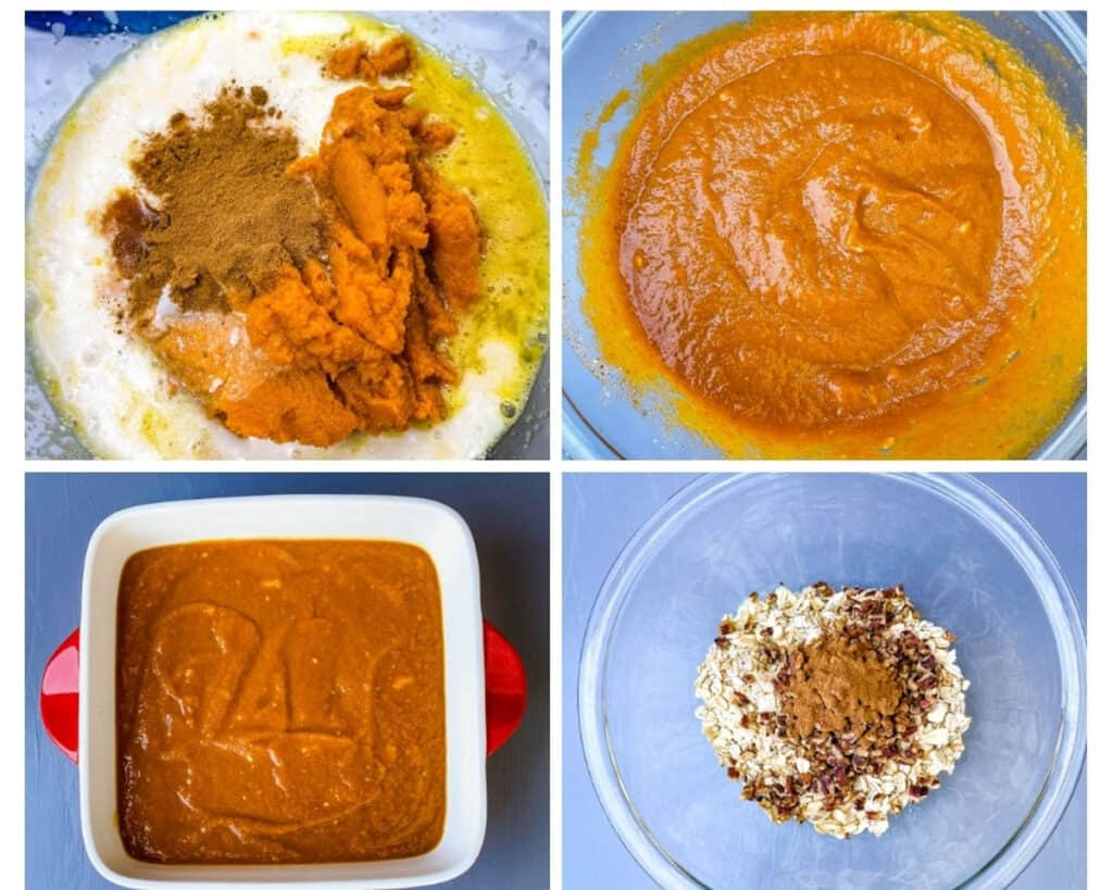 a collage photo showing how to make pumpkin crisp filling, pumpkin crisp filling in glass bowls