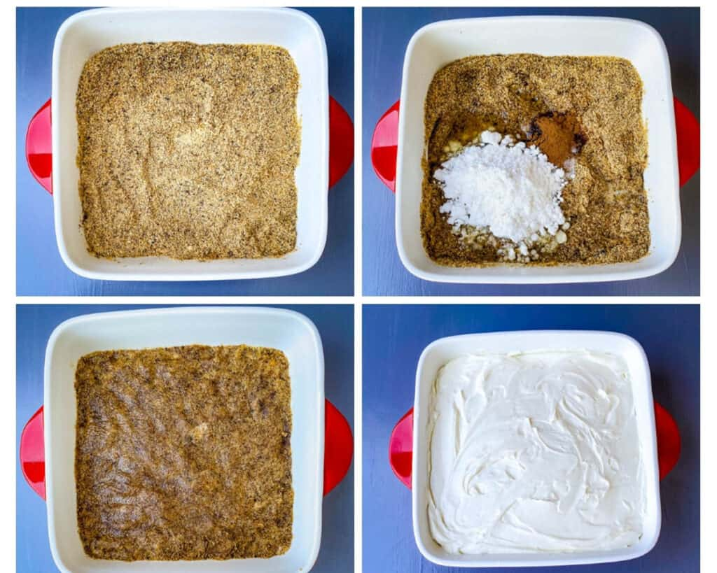 collage photo showing how to make graham cracker crust using almond flour in a baking dish