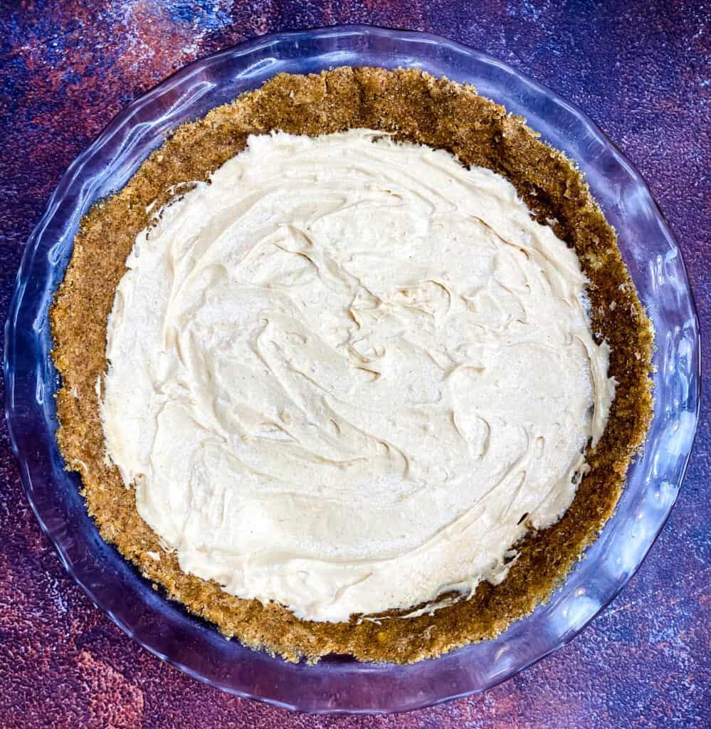 no bake peanut butter pie in a glass pie plate