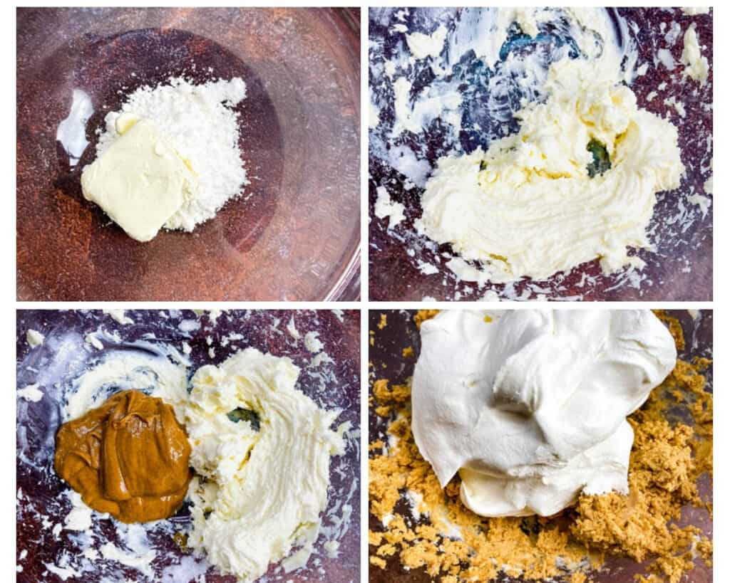 collage photo of 4 photos showing peanut butter pie filling