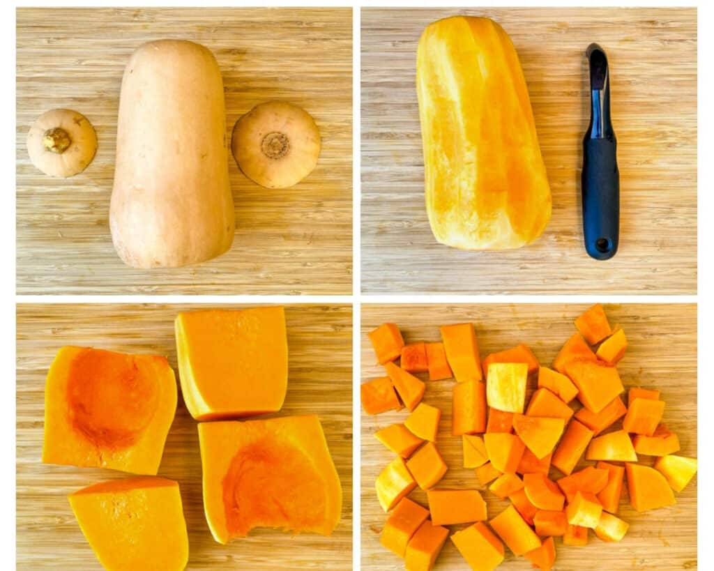 collage photo showing how to cut a butternut squash and remove seeds