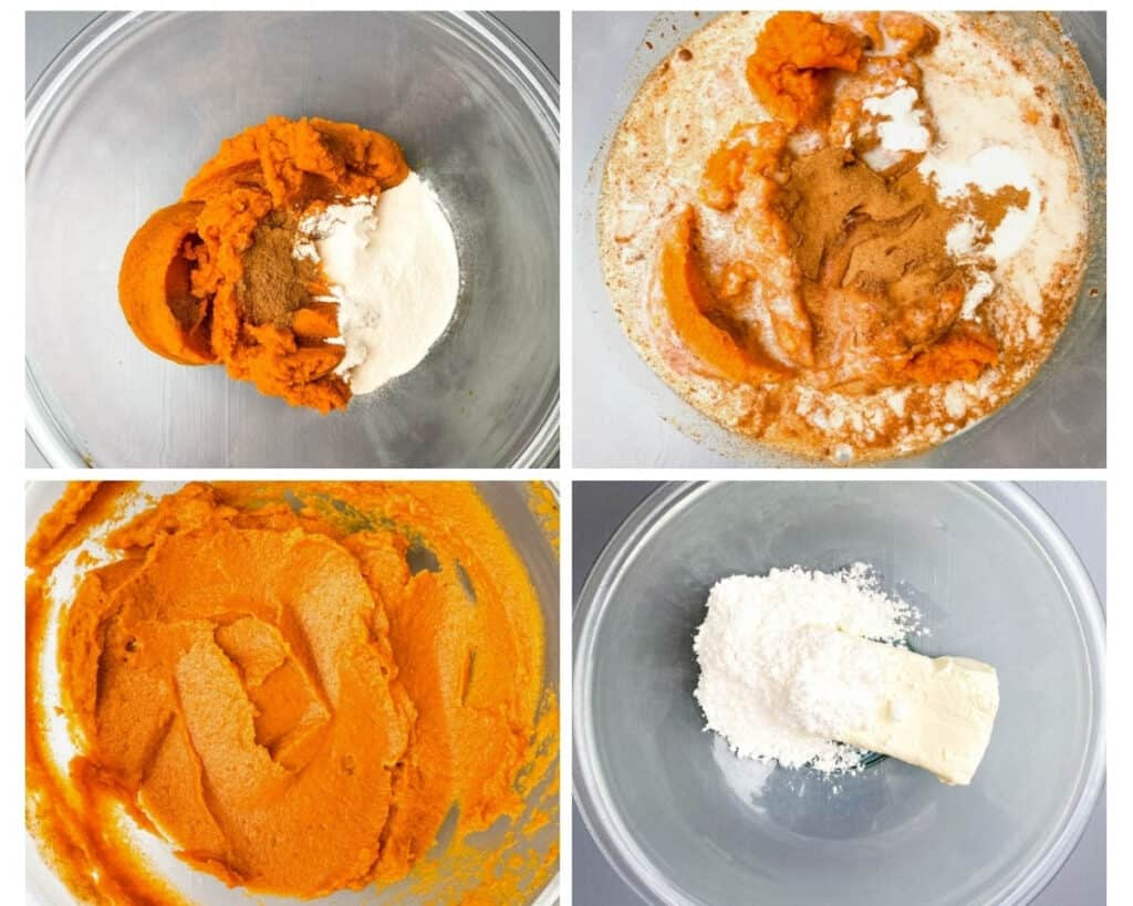 collage photo showing how to make pumpkin cheesecake filling in glass bowls with pumpkin and cream cheese