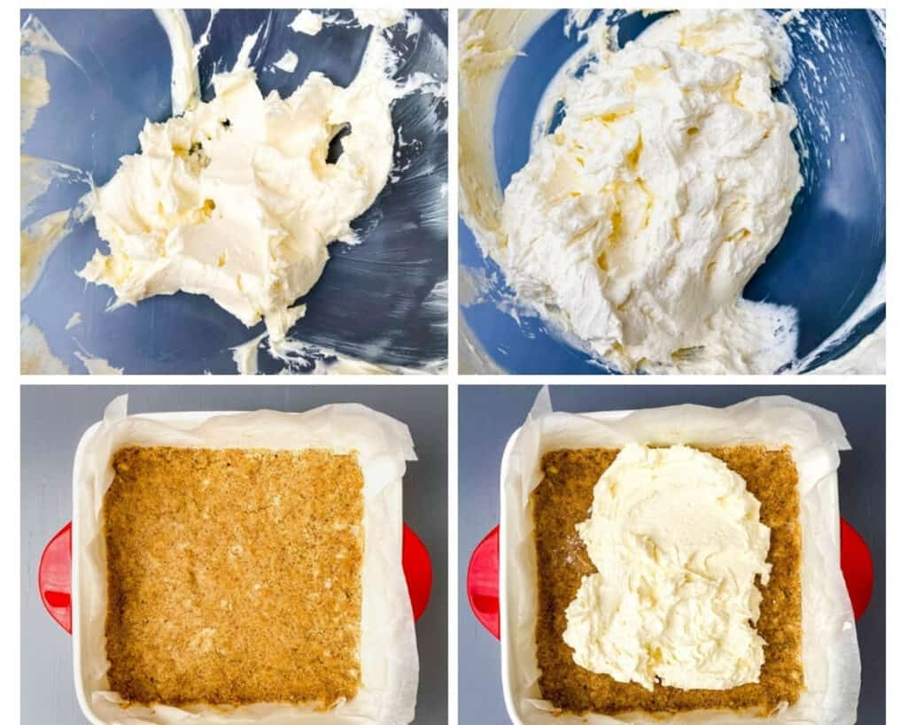 collage photo showing how to make cheesecake filling on graham cracker crust